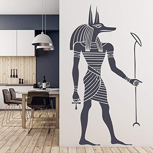 Pegatinas de pared de Anubis egipcio papel tapiz de estilo egipcio antiguo decoración de la sala de estar del hogar calcomanías de arte de pared de Anubis extraíbles A3 57x123cm