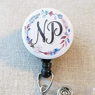 NP Nurse Practitioner ID Badge Holder with Swivel Clip, Floral Feather Wreath Nurse Hospital Badge, Nurse Graduation Gifts, Retractable Badge Reel, National Nurse Practitioner Week Gift