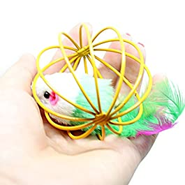 Hemore 2Pcs Pet Cat Funny Playing Toy Teal Fake Mouse Mice Rat in Cage Ball Toy Mixed Color Pet Supplies