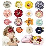 15 Pack Baby Girls Hair Clips Hair Bows Fully Lined Non Slip for Fine Handmade Hair Accessories for Newborn Infant Toddler Kids