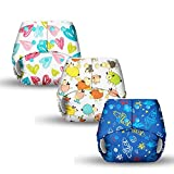 Contents: 3 trim pocket diaper with stay dry lining and a pocket opening Free Size - Adjustable diaper (1 diaper= 4 different sizes) .Certified and tested safe- tested-free for lead and phthalates. Cpsia (US) certified cloth diapers Waterproof, washa...