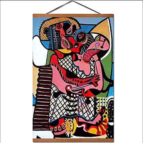FGVB Der Kuss von Picasso Wandkunst Leinwand Poster Abstrakte Malerei Wandbilder Wohnzimmer Home Decorcan Direkt an die Wand hängen 50X70Cm Mit Rahmen