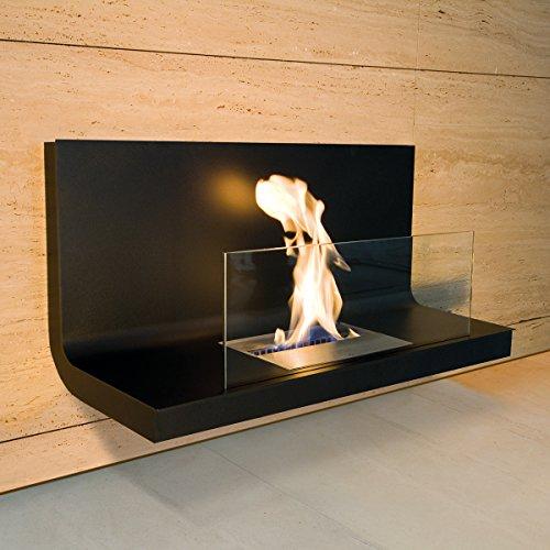 Wall Flame I schwarz Ethanolkamin mit Sicherheitsglas - 536 c