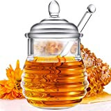 Acrylic Honey Jar with Dipper and Lid Honey Container Pot Syrup Sugar Beehive Jar Pot for Home...