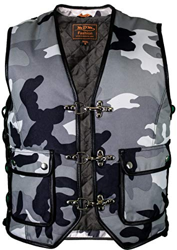 MDM Textil Bikerweste in Camouflage schwarz/weiß (XL)