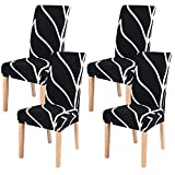 Dining Room Chair Covers Slipcovers Set of 4, SearchI Spandex Fabric Fit Stretch Removable Washable Short Parsons Kitchen Chair Covers Protector for Dining Room, Hotel (Black, 4 per Set)