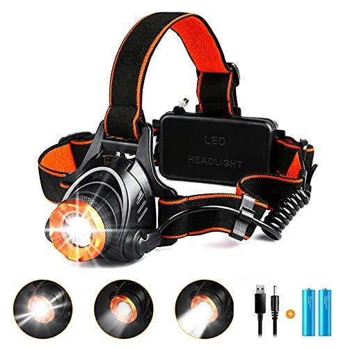 Linterna Cabeza,Linterna Frontal Led Recargable CREE XML-T6 1000 LUmenes con Zoom, BaterIa de 4400 mAh,Luz Frontal Cabeza Potente IP44 Impermeable con 3 Modos, para Correr, Pescar, Andar en Bicicleta