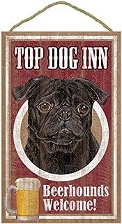 "SJT ENTERPRISES, INC. Pug (Black Color), Top Dog Inn 10"" x 16"" Wood Plaque, Sign (SJT27957)"
