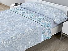 Juego de sábanas térmicas de Pirineo - 3 Piezas - 110 Gr/m2 - Mod. Hojas (Azul, Cama de 105 cm (105_x_190/200 cm))