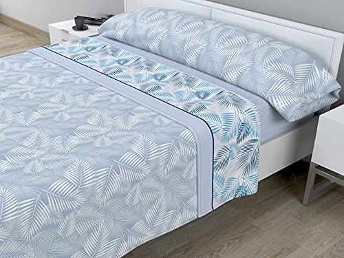 Juego de sábanas térmicas de Pirineo - 3 Piezas - 110 Gr/m2 - Mod. Hojas (Azul, Cama de 90 cm (90_x_190/200 cm))