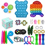aturustex 30 Pack Fidget Toys Set, Sensory Toys Pack Cheap for Kids Adults, Simple Dimple Figetget Toys, Push Pop Bubble Toy Kill Time (Among us(Running) + Bear)