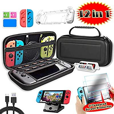 Nintendo Switch Carry Case 12 In 1 Screen Protector Play Stand Portable Travel Case Shell Pouch for Console & Accessories Switch Bundle BLACK