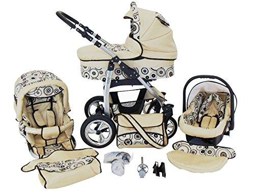 Chilly Kids Dino 3 in 1 Kinderwagen Set (Autosit & Adapter, Regenschutz, Moskitonetz, Schwenkräder)...