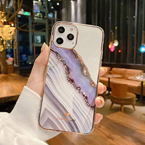 OWM iPhone 12 Pro Max Case Marble Stone Bling Silicone Bumper Slim Soft Gold Edging Back Shockproof Phone Cover Compatible for iPhone 12 Pro Max [6.7 Inches] - Purple Marble