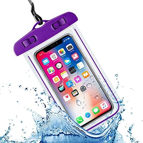 Funda impermeable universal para teléfono móvil, funda de protección de PVC, apta para teléfono móvil de 4 a 6,5 pulgadas, color morado