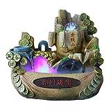 Fuente Moneda de la suerte decoración fuente de escritorio de la montaña de piedra artificial Aspecto de la sala dormitorio Oficina de escritorio Cascada Fuente y misteriosa niebla del agua de la mane