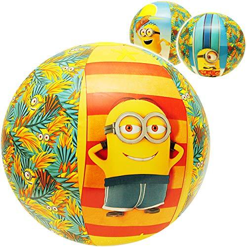 alles-meine.de GmbH Strandball / Ball aufblasbar -  Minions  - Ø 50 cm - Wasserball - aufblasbarer großer Ball / Beachball - Kinder - Baby - Spielball Aufblasball - groß - Luft..