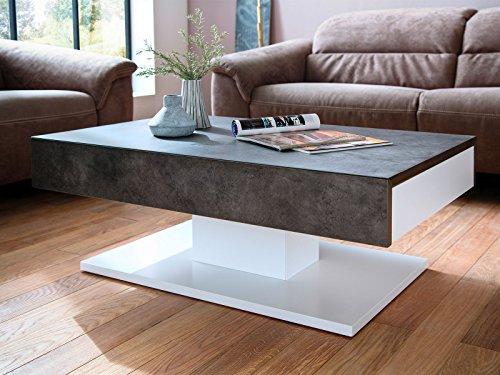 möbelando Couchtisch Ziertisch Wohnzimmertisch Sofatisch Beistelltisch Tisch Lania I (weiß-Beton)