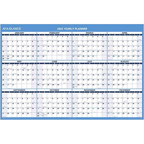 2022 Erasable Calendar, Dry Erase Wall Planner by AT-A-GLANCE, 48' x 32', Jumbo, Horizontal,...