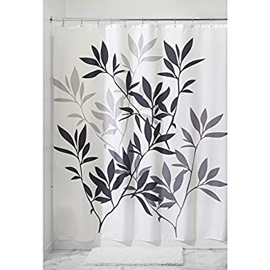 InterDesign 35620 Leaves Fabric Shower Curtain - Standard, 72  x 72 , Black