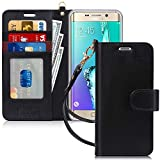 FYY Luxury PU Leather Wallet Case for Samsung Galaxy S6 Edge Plus, [Kickstand Feature] Flip Phone Case Protective Cover with [Card Holder] [Wrist Strap] for Samsung Galaxy S6 Edge Plus 2015 Black