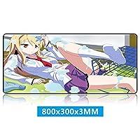 美少女シリーズ/床パターンに落ちる美/アニメマウスパッド/精度を向上させるAnti300×800skid、精度ゲーミングコンピュータパッド/ E向き300×800スポーツ、オフィス、家庭用ゴムマット