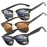 Perfectmiaoxuan Pack de 3 Gafas de Sol Hombre Mujer Polarizadas CAT 3 CE UV400 Gafas retro clásicas Conducción Correr Ciclismo Pesca Golf Verano Turismo Gafas de sol (3 pack(black/Leopard/black))