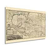 Historix Vintage 1715 Map of West Indies Islands of America - 16 x 24 Inch Vintage Map Wall Art - Shows what belongs to Spain, England, France and Holland - Old West Indies Art - Carribean Art (2 sizes)