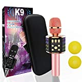 Bluetooth Karaoke Wireless Microphone with Dual Sing, LED Lights, Portable Handheld Mic Speaker Machine for iPhone/Android/PC/Outdoor/Birthday/Home/Party (Rose Gold)