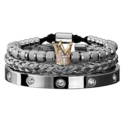 Pulseras para mujer Micro pavimentar CZ corona romana real encanto hombres pulseras de acero inoxidable cristales brazaletes pareja joyería hecha a mano regalo