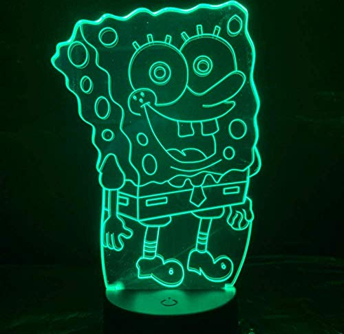 Halloween Lichter Spongebob Schwammkopf Nachtlicht Led 3D Illusion Zimmer Dekorative Lampe Kind Kinder Baby Nachtlicht Cartoon Tischlampe Schlafzimmer