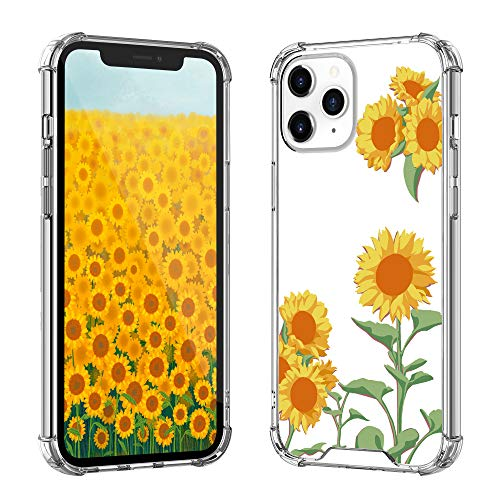 iPhone 12 Pro Max Case for Girls Women Protective, OUNNE iPhone 12 Pro Max Cases Protective Slim TPU Bumper with Hard PC Back Floral Cover Phone Case for iPhone 12 Pro Max 6.7Inch(Sunflower)