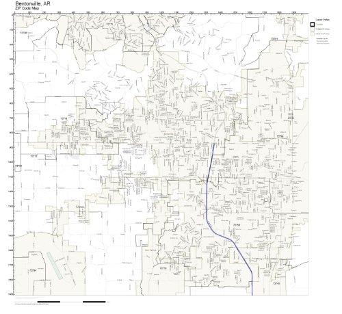 ZIP Code Wall Map of Bentonville, AR ZIP Code Map Laminated