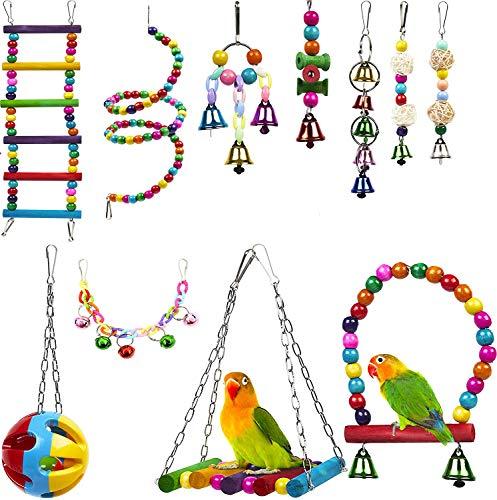 xutong 11 Piezas Juguete para Loros, Juguetes para Pájaros Juguete Colgante para Mascotas con Campanas,Columpios,Juguete de Masticación para Pequeños y Medianos Loros de Aves, Periquitos, Pinzones