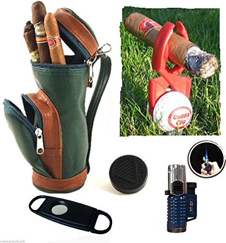 Cigar Caddy Golf Gift Set Mini Golf Bag Humidor Triple Flame Torch Lighter Cutter Cigar Holder