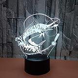 WULDOP Lampada Da Notte 3D Per Bambini E Amanti Pesca tonno oceano Ampada 3D Smart Touch Con 7 Cambi Di Colore E Telecomando Lampada Illusione Ottica Led Per Giocattoli E Regali