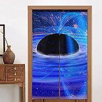 クールな青いブラックホール暖簾 のれん おしゃれ 目隠し ング 遮光玄関 キッチン リビング 飲食店 出入り口 幅85cm×丈150cm