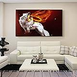 KWzEQ Imprimir en Lienzo Lobo Blanco Arte de la Pared Imagen Sala de Estar decoración del hogar70x105cmPintura sin Marco
