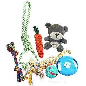 Bowada Jouets pour chien, lot de 5 jouets interactifs, frisbee, jouet à mâcher, balle, jouets en peluche pour chiot, chiens de petite et moyenne taille.
