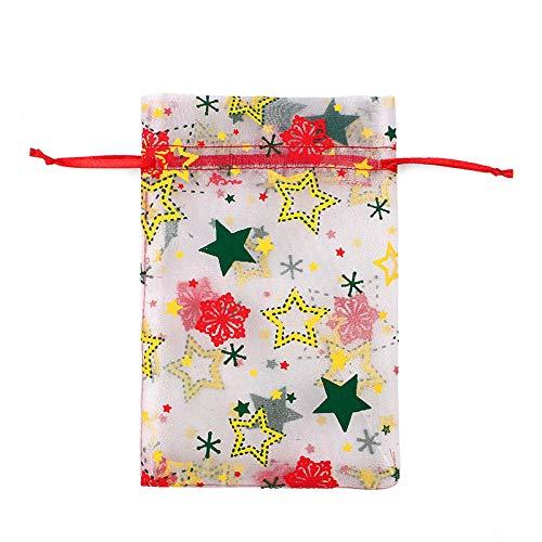 50 Uds., Bolsa de regalo de organza con cordón de Navidad, bolsas de regalo de chocolate con concha de caramelo para boda-01_10X15