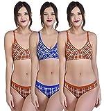 Alishan Women's Check Print Bra and Panty Set Blue,Orange