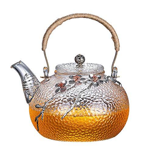 Heat Resistant Glass Tea Pot Home Flower Teapot Office Kettle Drinkware Creative Boutique Japanese Glass Teapot High borosilicate household health pot (Silver)