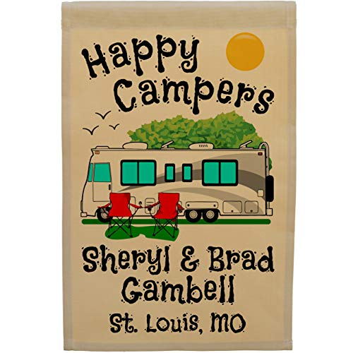 Happy Campers Class A Motorhome Camp Flag Personalized with 3 Lines of Custom Text (Gray Trim)