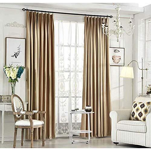 Siunwdiy Schwere grüne Samtvorhang Blackout schalldichte Vorhänge, undurchsichtige Vorhänge mit Lockenband für Wohnzimmer Schlafzimmer, 2 Panel, dunkelgrün,Champagne,200X230cm