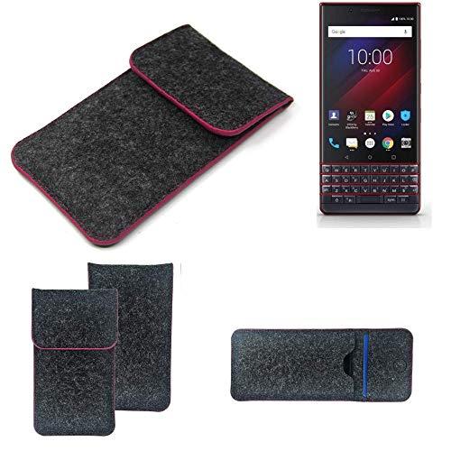K-S-Trade Filz Schutz Hülle Für BlackBerry Key 2 LE Dual-SIM Schutzhülle Filztasche Pouch Tasche Hülle Sleeve Handyhülle Filzhülle Dunkelgrau Rosa Rand