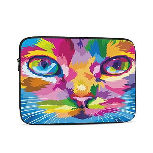 Buntes Katzengesicht in der Nähe von bunten Augen Laptop-Tasche,Laptop-Hülle,Polyester Universalhülle Reißverschluss Notebook Schutzhülle,Schwarz 17 Zoll