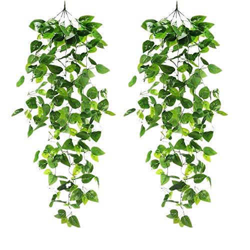 momok 2Pcs Artificial Hanging Plants 3.28Ft Fake Ivy Vine Leaves for Wall Home Room Garden Wedding Garland Outside Decoration