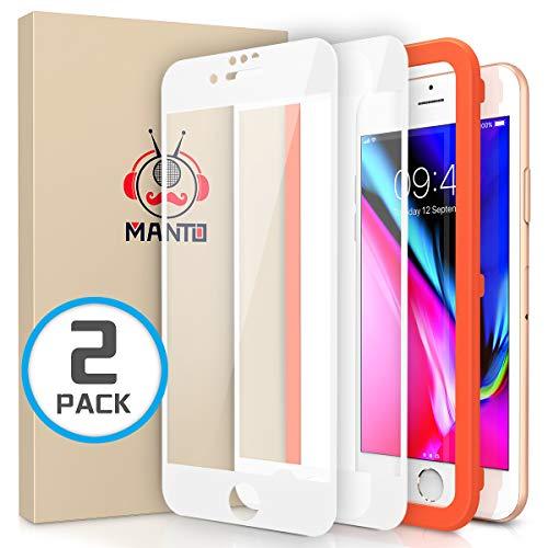 MANTO Panzerglas Schutzfolie für iPhone 8 Plus/7 Plus, Full Coverage Hartglas Edge to Edge Schutz, 9H Härte, Anti-Kratzer, Anti-Öl, Anti-Bläschen