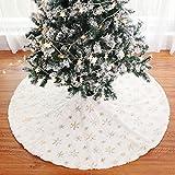 DYHF Falda de árbol de Navidad blanca de piel sintética de 36 pulgadas, falda de árbol de Navidad, color blanco nevado para decoraciones de Navidad, reutilizable decoraciones de Navidad doradas