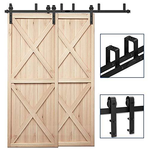 CCJH 182cm(6FT) Kit de guía para puerta corredera Bypass Ferretería Polea de Rail suspendida sistema de puerta interiores en madera granero armario cuarto de, negro